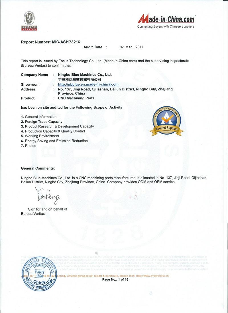 Custom Machining Service Cert 1